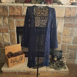 Ladies Lace Navy Duster